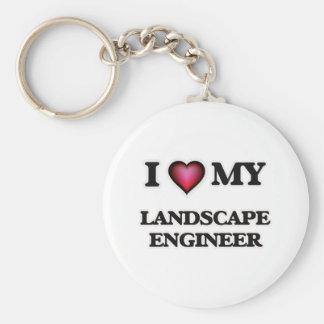 Amo a mi ingeniero del paisaje llavero redondo tipo pin