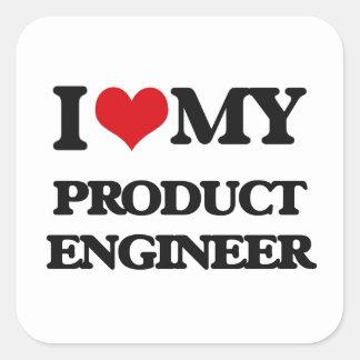 Amo a mi ingeniero del producto calcomanía cuadrada personalizada