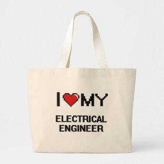 Amo a mi ingeniero eléctrico bolsa tela grande