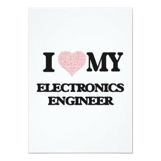 """Amo a mi ingeniero electrónico (corazón hecho del invitación 5"""" x 7"""""""