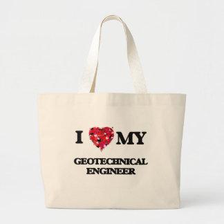 Amo a mi ingeniero geotécnico bolsa tela grande