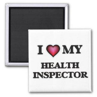 Amo a mi inspector de la salud imán cuadrado