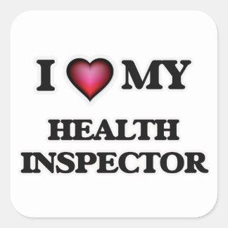 Amo a mi inspector de la salud pegatina cuadrada