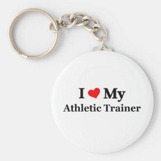 Amo a mi instructor atlético llavero redondo tipo pin
