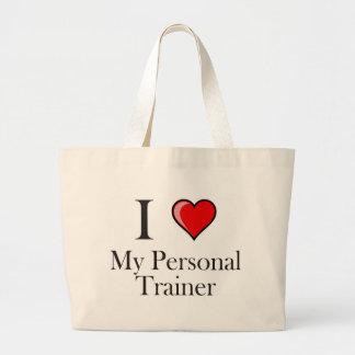 Amo a mi instructor personal bolsa tela grande
