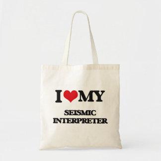 Amo a mi intérprete sísmico bolsa de mano