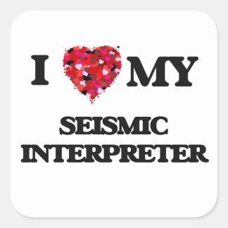 Amo a mi intérprete sísmico pegatina cuadrada