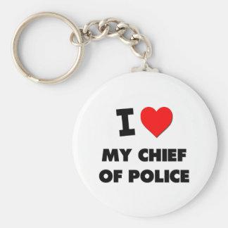Amo a mi jefe de policía llavero personalizado