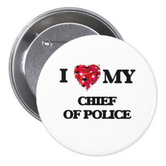 Amo a mi jefe de policía chapa redonda 7 cm