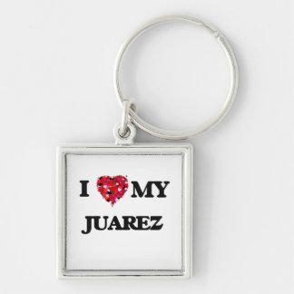 Amo a MI Juarez Llavero Cuadrado Plateado