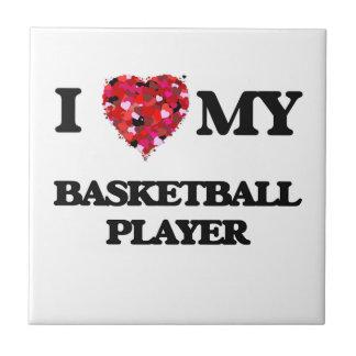 Amo a mi jugador de básquet azulejo cuadrado pequeño