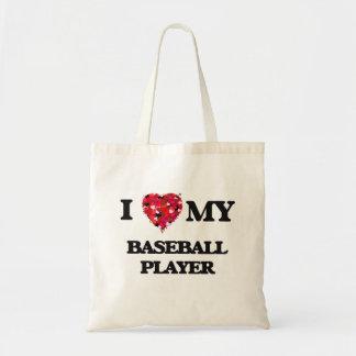 Amo a mi jugador de béisbol bolsa tela barata
