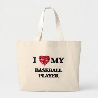Amo a mi jugador de béisbol bolsa tela grande