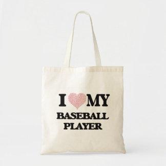 Amo a mi jugador de béisbol (el corazón hecho de bolsa tela barata