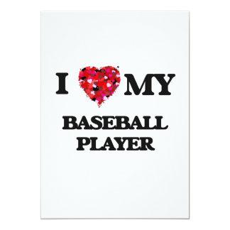 """Amo a mi jugador de béisbol invitación 5"""" x 7"""""""
