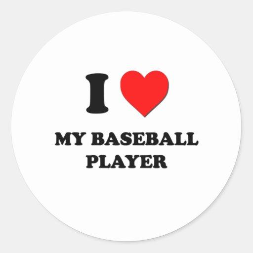 Amo a mi jugador de béisbol pegatinas