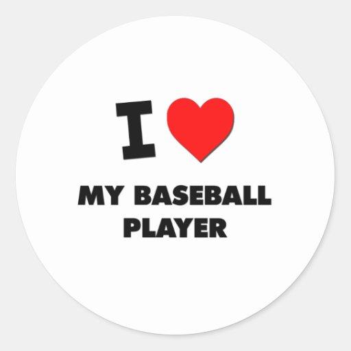 Amo a mi jugador de béisbol etiquetas redondas