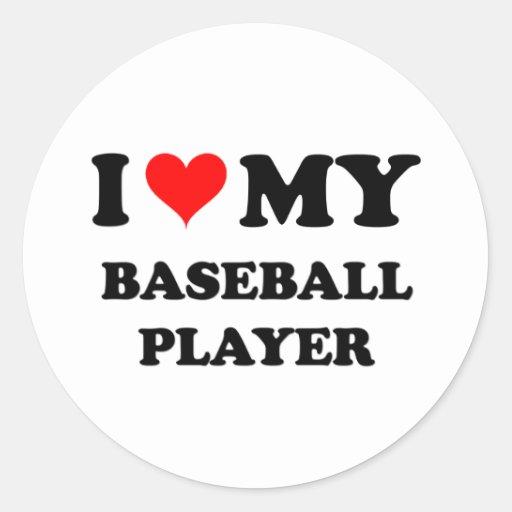 Amo a mi jugador de béisbol pegatinas redondas