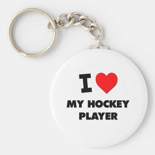 Amo a mi jugador de hockey llavero redondo tipo pin