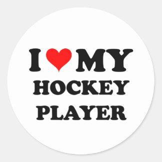 Amo a mi jugador de hockey pegatina redonda