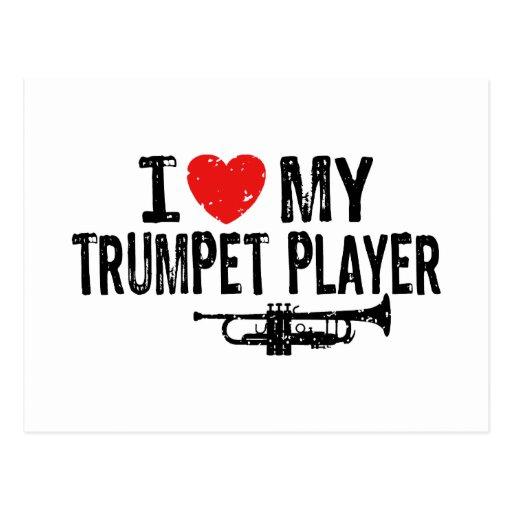 Amo a mi jugador de trompeta tarjetas postales