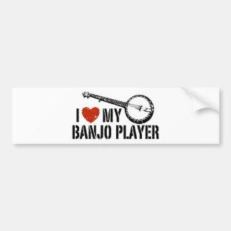 Amo a mi jugador del banjo pegatina de parachoque