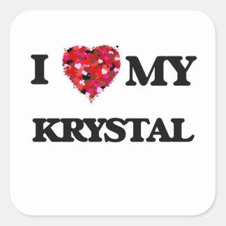 Amo a mi Krystal Pegatina Cuadrada