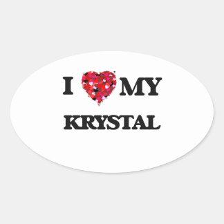 Amo a mi Krystal Pegatina Ovalada