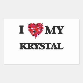 Amo a mi Krystal Pegatina Rectangular