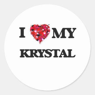 Amo a mi Krystal Pegatina Redonda