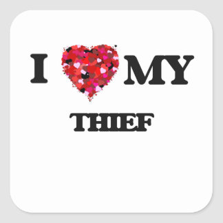 Amo a mi ladrón pegatina cuadrada