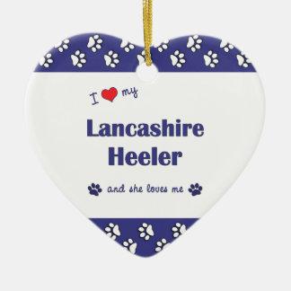 Amo a mi Lancashire Heeler (el perro femenino) Adorno De Cerámica En Forma De Corazón