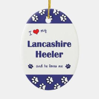 Amo a mi Lancashire Heeler (el perro masculino) Adorno Ovalado De Cerámica