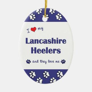 Amo a mi Lancashire Heelers (los perros múltiples) Adorno Ovalado De Cerámica