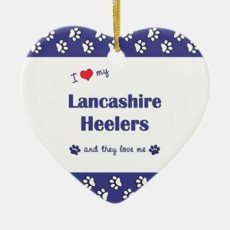 Amo a mi Lancashire Heelers (los perros múltiples) Adorno De Cerámica En Forma De Corazón