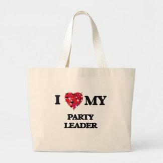 Amo a mi líder de fiesta bolsa tela grande