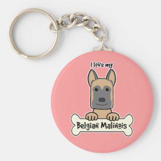 Amo a mi Malinois belga Llavero Redondo Tipo Pin