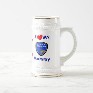 Amo a mi mamá de la policía jarra de cerveza