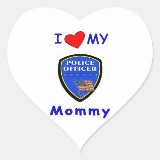 Amo a mi mamá de la policía pegatina en forma de corazón