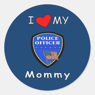 Amo a mi mamá de la policía pegatina redonda
