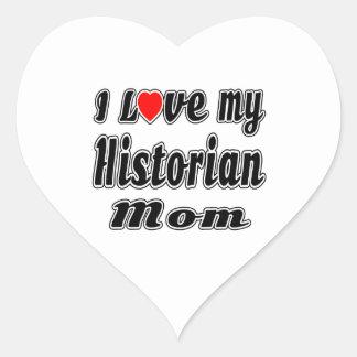 Amo a mi mamá del historiador pegatina en forma de corazón