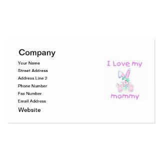 Amo a mi mamá (el conejito del chica) tarjetas de visita