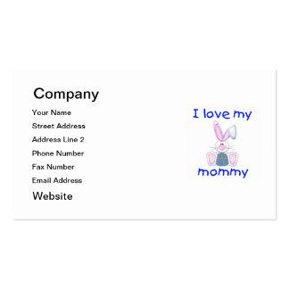 Amo a mi mamá (el conejito del muchacho) tarjetas de visita