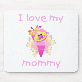 Amo a mi mamá (el flutterbug del chica) alfombrilla de ratones