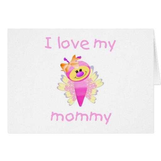 Amo a mi mamá (el flutterbug del chica) tarjeta pequeña