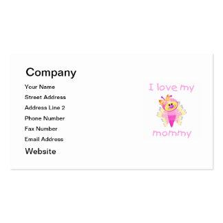 Amo a mi mamá (el flutterbug del chica) tarjetas de visita