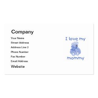 Amo a mi mamá (el oso azul) tarjetas de visita
