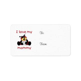 Amo a mi mamá (la mariquita del chica) etiqueta de dirección