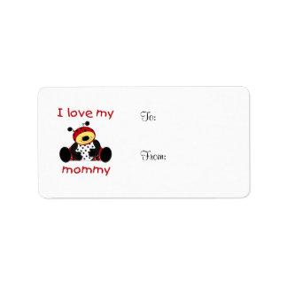 Amo a mi mamá (la mariquita del muchacho) etiqueta de dirección