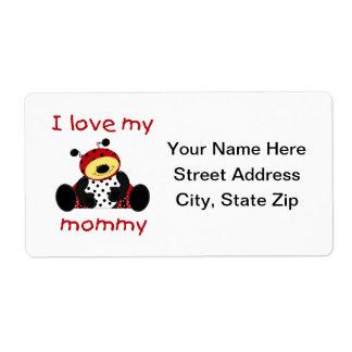 Amo a mi mamá (la mariquita del muchacho) etiqueta de envío